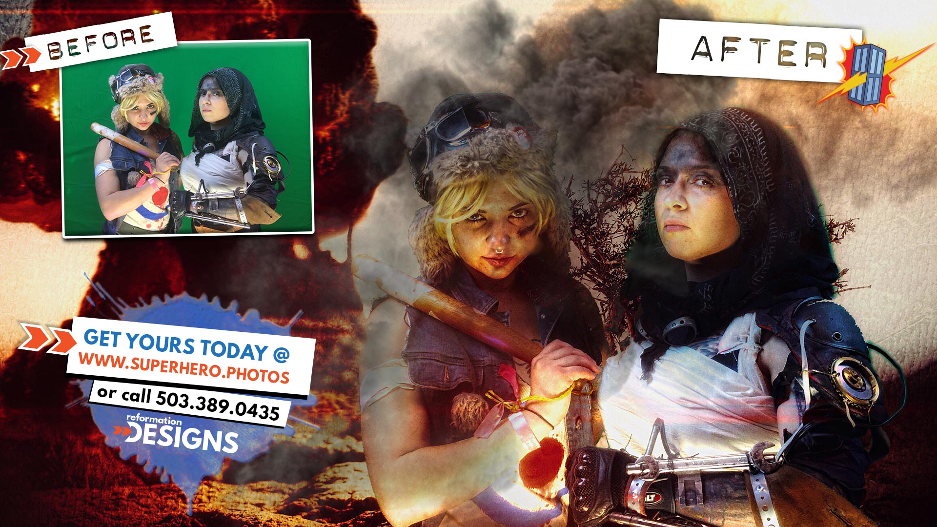 SUPERHERO PHOTOBOOTH BY REFORMATION DESIGNS - #7 -Tank Girl and Mad Max Cosplay - Northwest Comic Fest - JUNE 2015