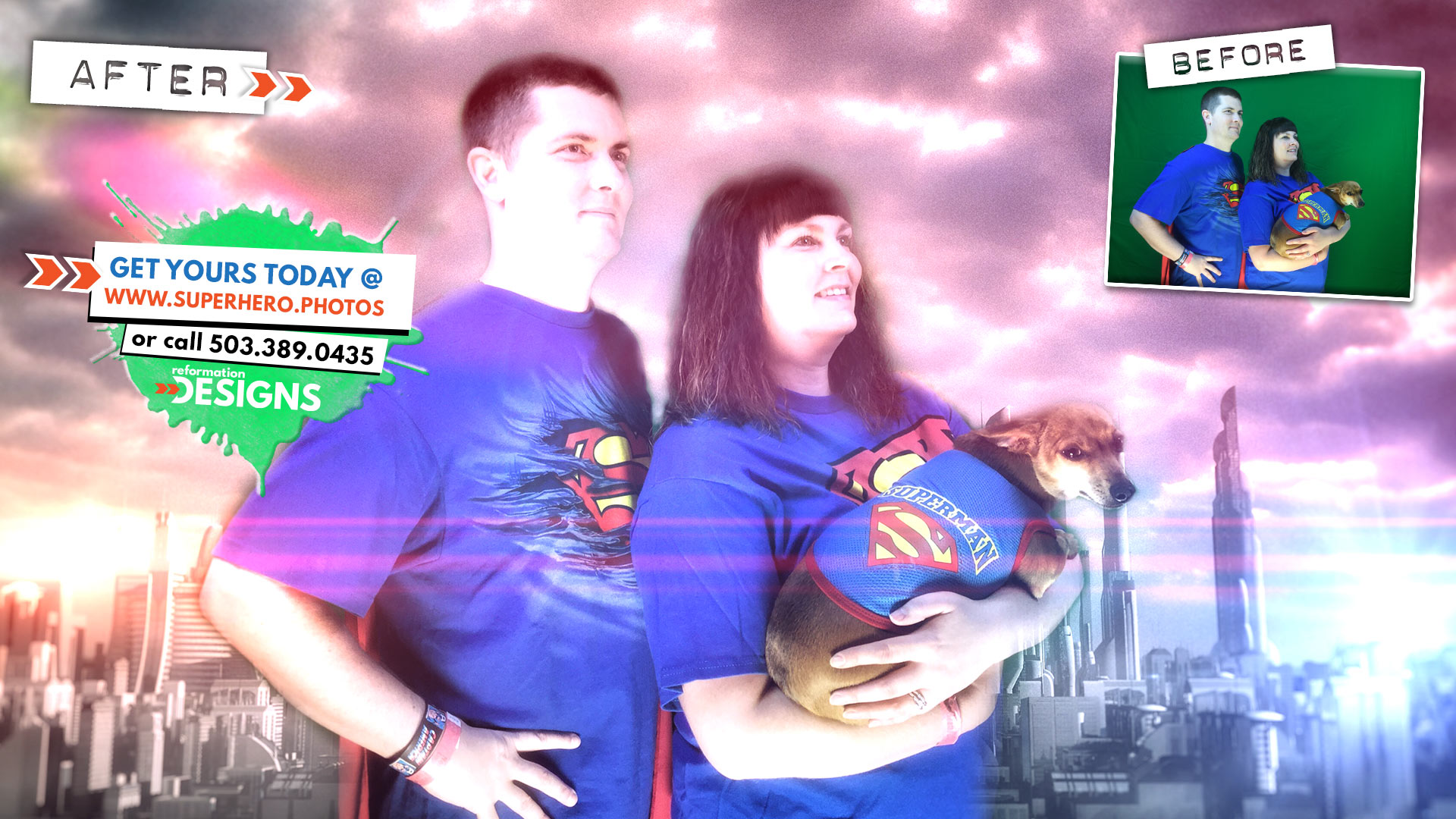 SUPERHERO PHOTOBOOTH BY REFORMATION DESIGNS - #9 - Super Family - Northwest Comic Fest - JUNE 2015